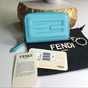 Fendi Authentic Tiffany Blue Key Card Pouch NWT
